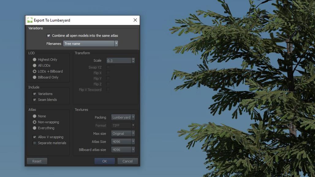 New Export Options2 – SpeedTree